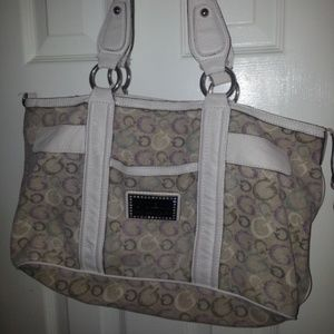 Handbags - GUESS Large BEIGE IVORY Leather Fabric bag purse